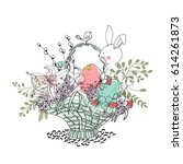 easter basket with bunny | Shutterstock .eps vector #614261873