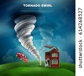 tornado natural disaster design ... | Shutterstock .eps vector #614268527