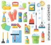 selection of cleaning supplies... | Shutterstock .eps vector #614269403