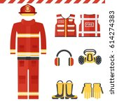set of firefighter equipment... | Shutterstock .eps vector #614274383