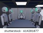 robot in an office  3d...   Shutterstock . vector #614281877