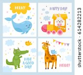 set of baby cards with animals. ... | Shutterstock .eps vector #614282213