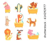 cute animals bathing and...