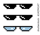 set glasses pixel in art style. ... | Shutterstock .eps vector #614294147