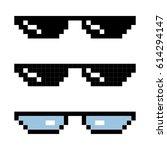 Set Glasses Pixel In Art Style...