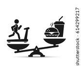 man treadmill vs fast food on... | Shutterstock .eps vector #614299217