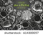 pub food frame vector... | Shutterstock .eps vector #614300057