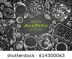 pub food frame vector... | Shutterstock .eps vector #614300063