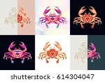 set of crab logos. abstract... | Shutterstock .eps vector #614304047
