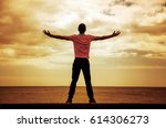 calm guy enjoying the beautiful ... | Shutterstock . vector #614306273
