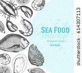 seafood design template. vector ... | Shutterstock .eps vector #614307113