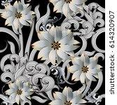 modern floral seamless  pattern.... | Shutterstock .eps vector #614320907