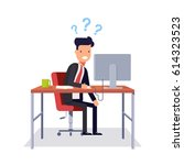 businessman does not understand ... | Shutterstock . vector #614323523