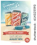 vacations and summer party... | Shutterstock .eps vector #614325593