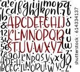 handwritten brush style letters....   Shutterstock .eps vector #614334137