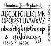 handwritten alphabet. modern... | Shutterstock .eps vector #614334143