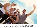 group happiness young friends... | Shutterstock . vector #614336687