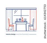 dining room interior design ... | Shutterstock .eps vector #614342753