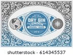 gin label with floral ornaments   Shutterstock .eps vector #614345537