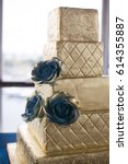 gold and blue wedding cake | Shutterstock . vector #614355887