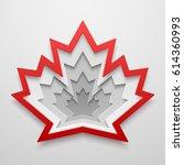 maple leaf paper art shape.... | Shutterstock .eps vector #614360993