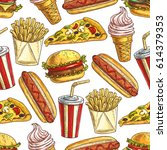 vector pattern of fast food hot ... | Shutterstock .eps vector #614379353