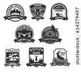 hunting club icons. hunter... | Shutterstock .eps vector #614379497