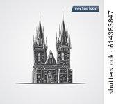 tyn church in praha vector... | Shutterstock .eps vector #614383847