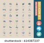 seo development icon set clean... | Shutterstock .eps vector #614387237