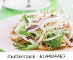 close up of thai spicy squid... | Shutterstock . vector #614404487