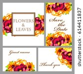 invitation with floral... | Shutterstock .eps vector #614411837