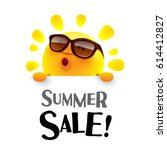 summer sale  summer sun with... | Shutterstock .eps vector #614412827
