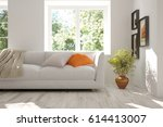 white room with sofa and green... | Shutterstock . vector #614413007