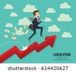 running towards the goal. start ... | Shutterstock .eps vector #614420627