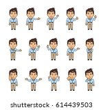 set of chibi man characters...   Shutterstock .eps vector #614439503