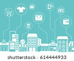 shopping icons with city... | Shutterstock .eps vector #614444933