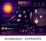 space infographic on purple... | Shutterstock .eps vector #614446433