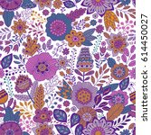vector floral pattern in doodle ... | Shutterstock .eps vector #614450027