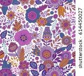 vector floral pattern in doodle ... | Shutterstock .eps vector #614450027