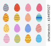 easter eggs icons. vector... | Shutterstock .eps vector #614459327