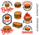 set of burgers and sandwiches... | Shutterstock .eps vector #614467427