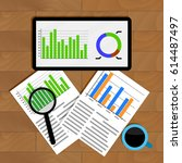 analytics and statistics. graph ... | Shutterstock .eps vector #614487497