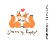 card with a couple squirrels ...   Shutterstock .eps vector #614489243