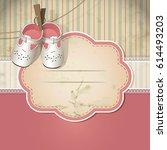 baby shower card. arrival card... | Shutterstock .eps vector #614493203