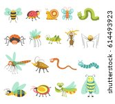 funny cartoon insects and bugs... | Shutterstock .eps vector #614493923