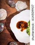 Small photo of Vertical shooting Braised Abalone and shellfish.