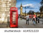 red phone box with big ben ... | Shutterstock . vector #614521223