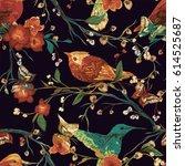 vintage seamless pattern  bird  ... | Shutterstock .eps vector #614525687