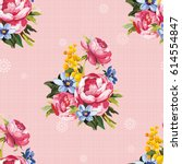 seamless floral pattern with... | Shutterstock .eps vector #614554847