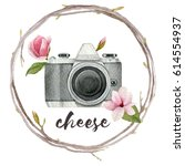 watercolor photographer... | Shutterstock . vector #614554937